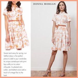 Donna Morgan Tropical Print Stretch Poplin Dress
